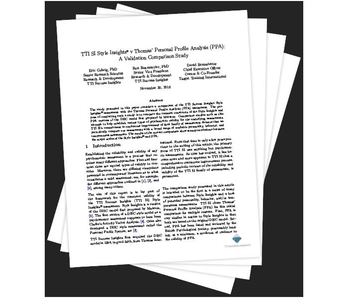 TTI SI Style Insights® v Thomas' Personal Profile Analysis (PPA): A Validation Comparison Study