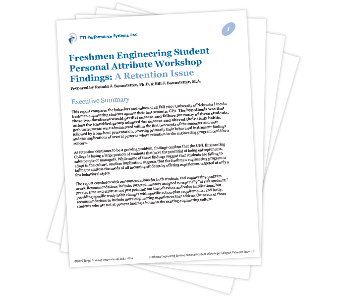 Freshmen Engineering Student Personal Attribute Workshop Findings: A Retention Issue