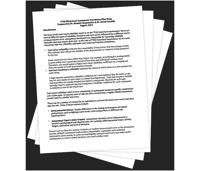 TTISI Behavioral Assessment Test-Retest Pilot Study