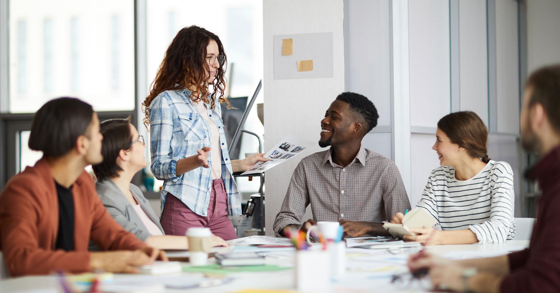 team meeting in a positive organizational culture