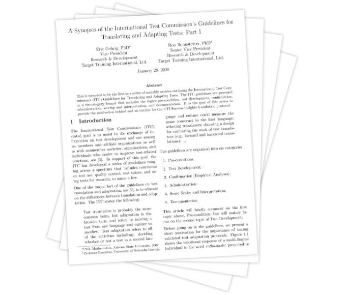 A Synopsis of the International Test Commission's Guidelines for Translating and Adapting Tests: Part I