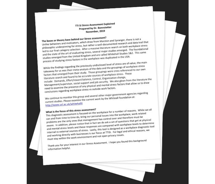TTI SI Stress Assessment Explained