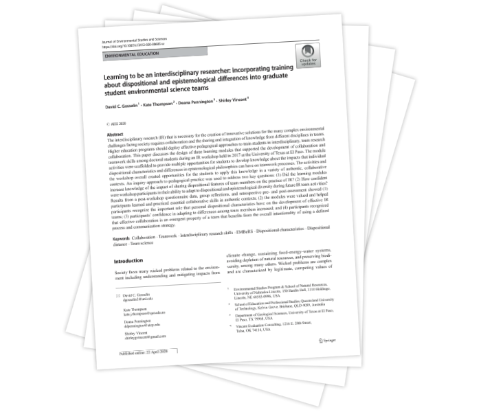 Learning to Be an Interdisciplinary Researcher: Incorporating Training About Dispositional and Epistemological Differences Into Graduate Student Environmental Science Teams