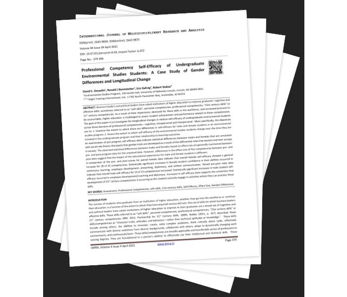 Professional Competency Self-Efficacy of Undergraduate Environmental Studies Students